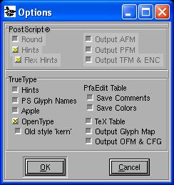 fontforge-glyphs-name-options