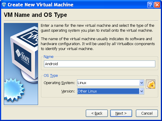 Create new Virtual Machine for Android