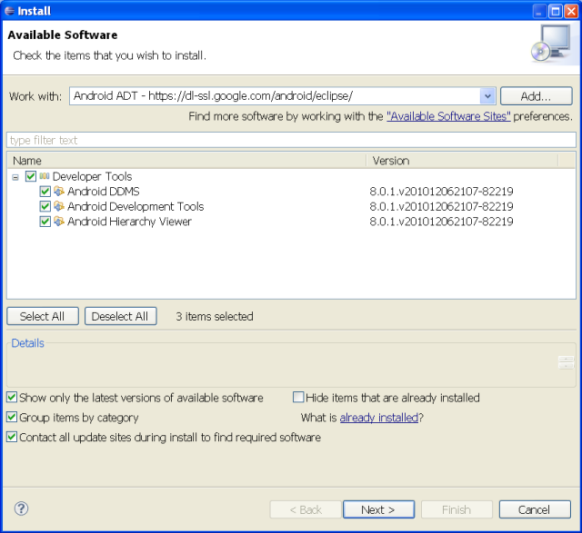 Android ADT Plugin in  Eclipse 3.6.1 (Helios)