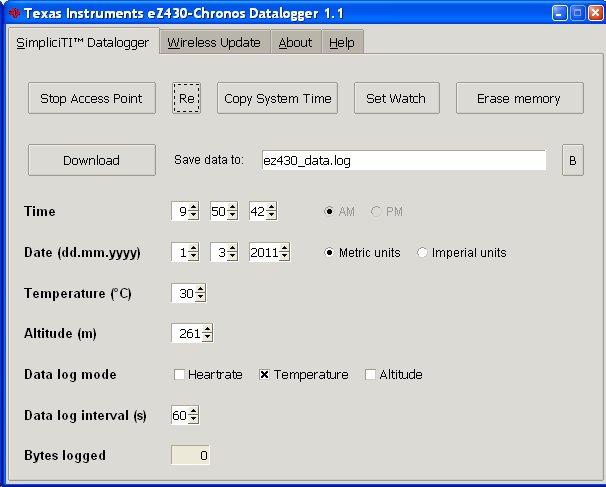 TI eZ430 Datalogger configure to record temperature data