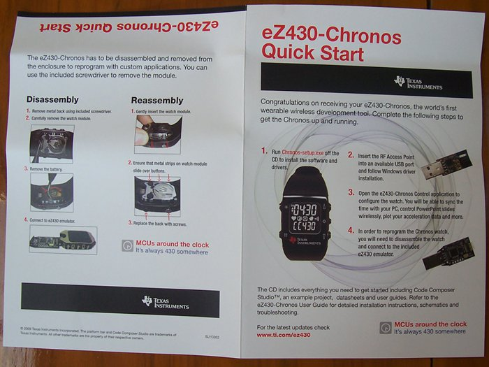 Texas Instruments ez430-Chronos Quick Start