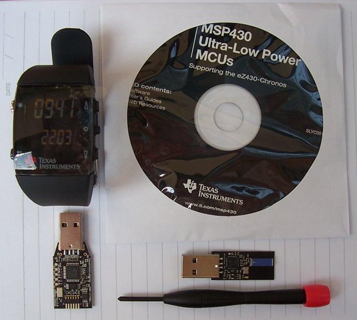 TI Wireless Watch, RF Access Point, Emulator and CD.