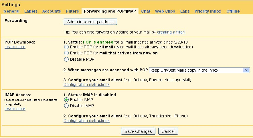 IMAP Settings in G-mail