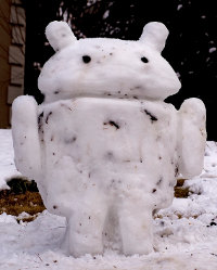 Android Snowman made of snowballs...