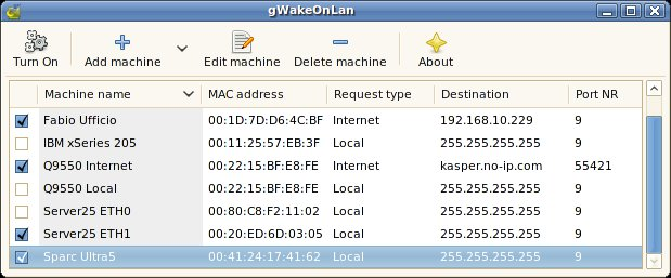 gWakeOnLan User Interface