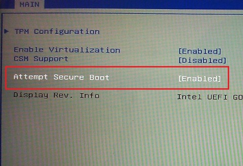 Disable UEFI Secure Boot in BIOS