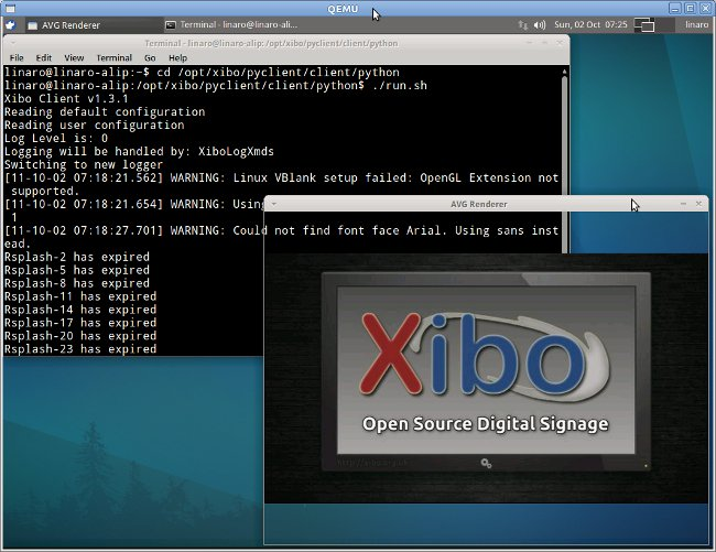 Qemu Overo running ALIP image and Xibo Oepn Source Digital Signage