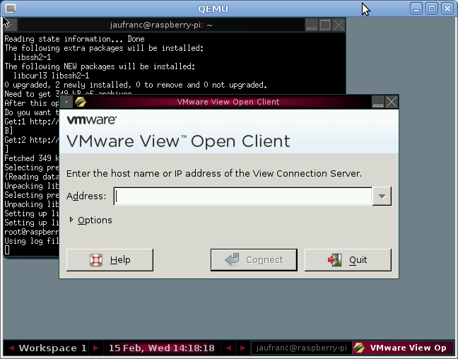 VMWare View in Raspberry Pi Emulator