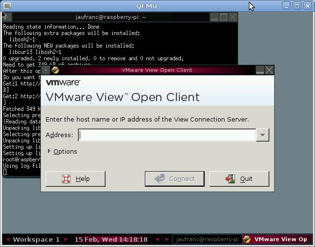 VMWare View in Raspberry Pi Emulator