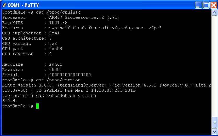 Mele A1000 Debian Serial Port Output