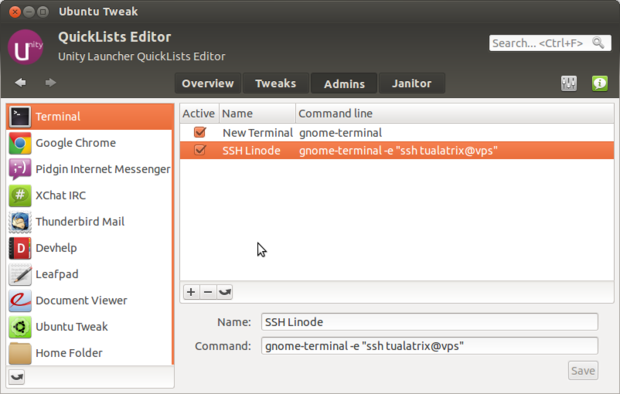 Change QuickLists in Ubuntu 12.04