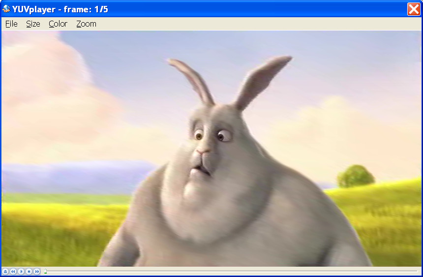 Big Buck Bunny Frame Encoded to H.265, Decoded to YUV, displayed in YUV Player