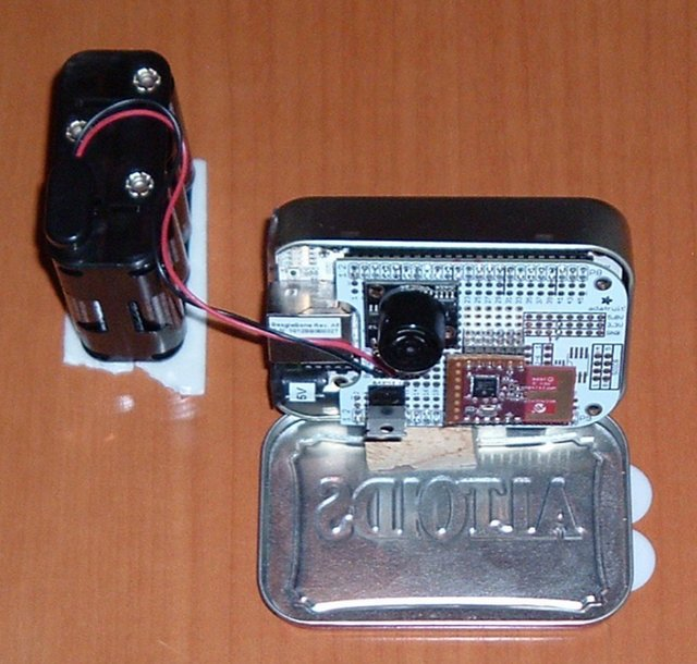 Beaglebone based Alarm System with Adafruit Proto Cape, Microchip MRF24J40MA, Maxbotix HRLV-EZ0,  LM7805 (5V regulator)and Battery