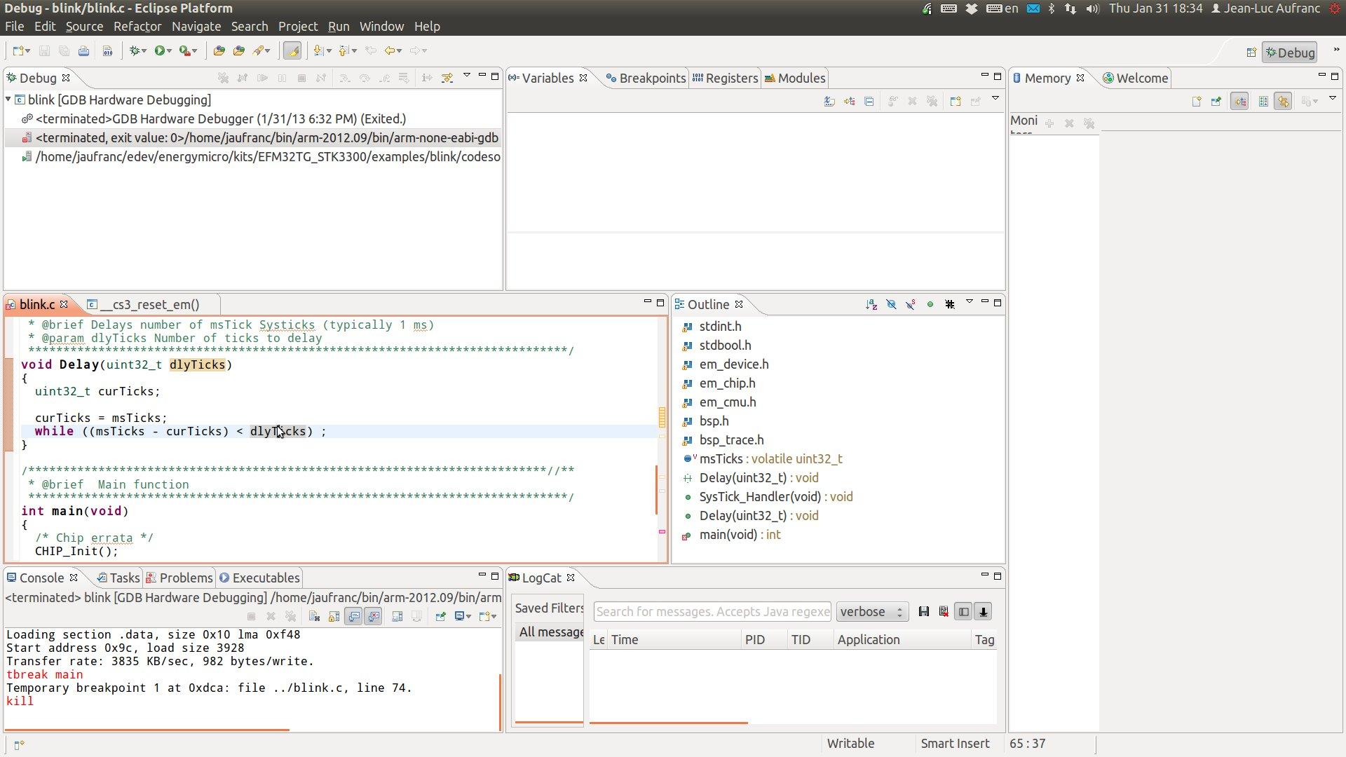 Eclipe Ubuntu Energy Micro Blink Debug