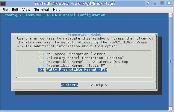 """Real-Time Linux Option in Make menuconfig: """"Fully Preempt Linux Kernel (RT)"""""""