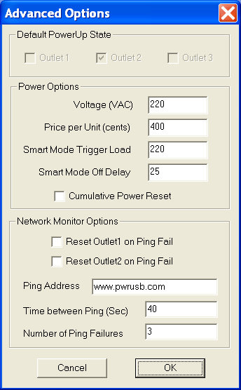 PowerUSB Advanced Options