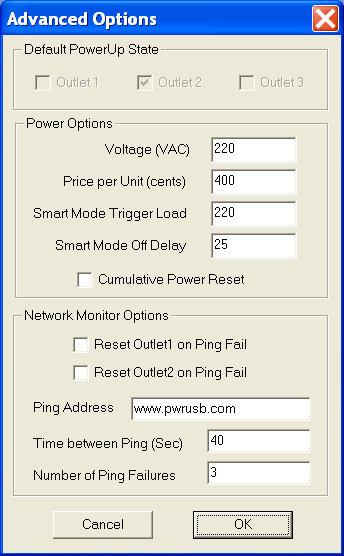 PowerUSB Advanced Options