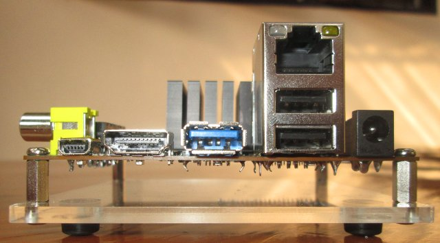 Left to Right: miniUSB device, HDMI, USB 3.0 Host, RJ45 + 2 USB 2.0 Host, and Power (Click to Enlarge)