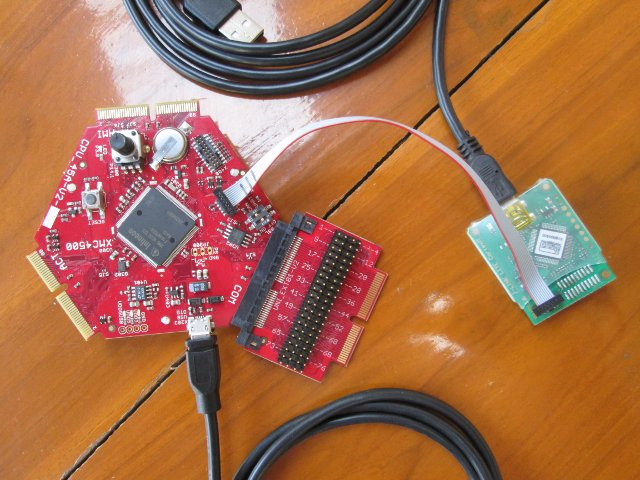 Assembled XMC4500 Board and JLink Debugger
