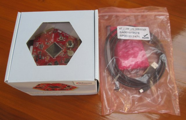 XMC4500 Hexagon Board (Left) & JLink Debugger (Right)