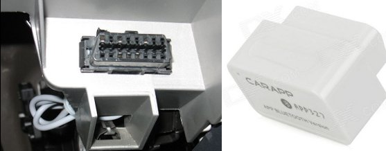 OBD2 Connector (Left) - CARAPP APP327 Bluetooth Scanner (Right)