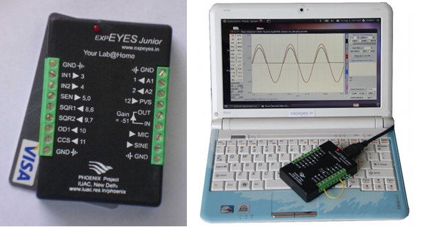 expEYES Junior (Left) Connected to a Linux Netbook (Right)