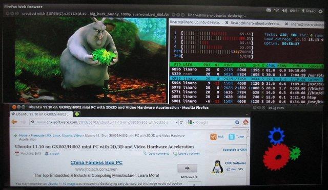 Totem (1080p Video) + Firefox + es2gears + htop running in Ubuntu 11.10 on Hi802 (Click to Enlarge)