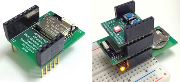 RFDuino (Left) & RFDuino with 2 shields connected to a breadboard