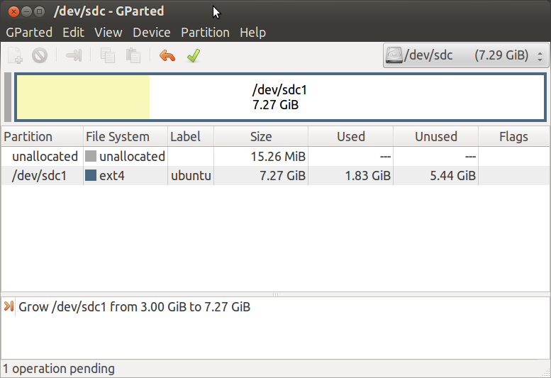 Ubuntu GK802 gparted