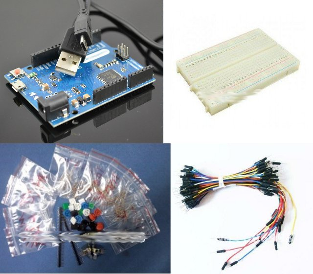 $20 Dollars Arduino Kit: Arduino Leonardo Compatible Board with Breadboard, Jumper Wires, and Components