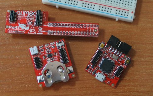 OLIMEXINO-NANO with breadboard and battery shields