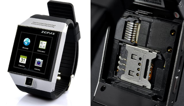ZGPAX S5 Smartwatch (left), SIM and microSD  Card Slots (right)