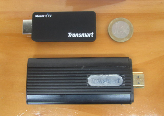 Tronsmart T1000 compared to a Euro Coin and T428 Android mini PC