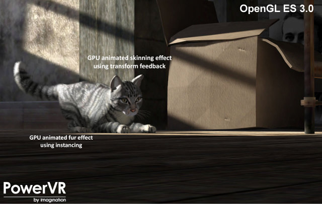 "Screenshot of ""Soft Kitty"" OpenGL 3.0 demo on a  PowerVR Series6XT GPU (Click to Enlarge)"