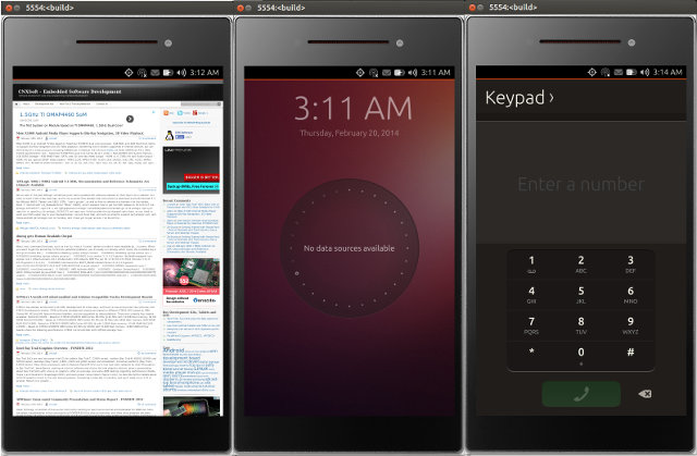 Ubuntu Touch Emulator (Click to Enlarge)