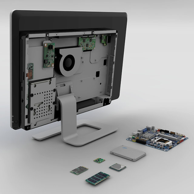 Typical All-in-One Computer Chassis with Thin mini-ITX Board and other Components