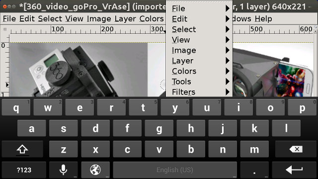 Gimp running in Android via XServer XSDL (Click for Original Size)