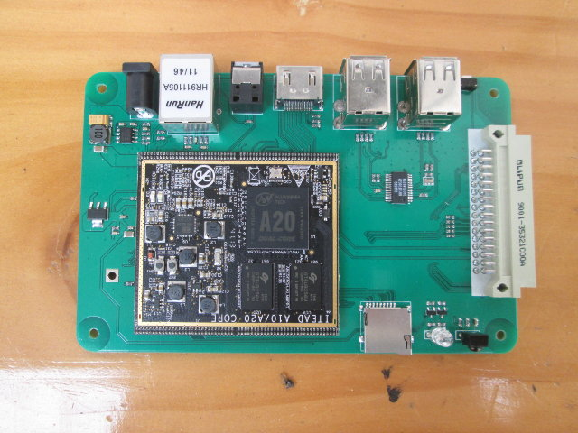 Top of IBOX Board with A20 SoM (Click to Enlarge)