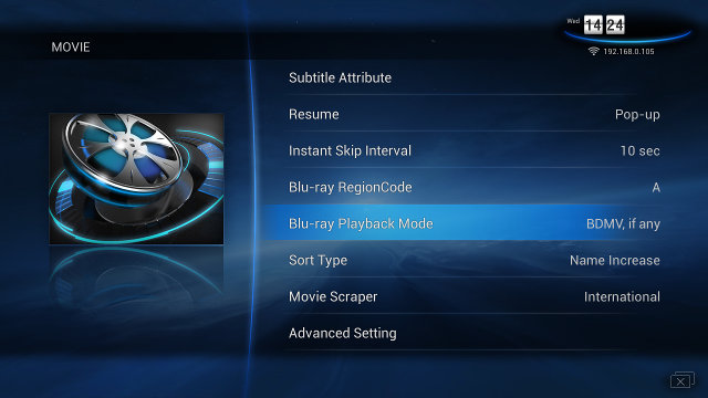 Movie Menu with Blu-Ray Region Code and Playback Options (Click for Original Size)