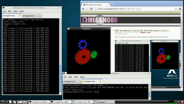 es2gears OpenGL ES demo on Rockchip RK3188