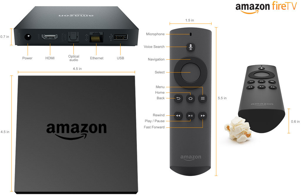 Fire TV and Remote Description (Click to Enlarge)