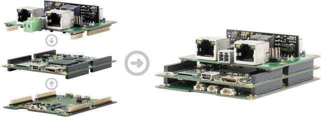 HIO Project Stackable Board: Main Board + PoE + Display Board (Click to Enlarge)