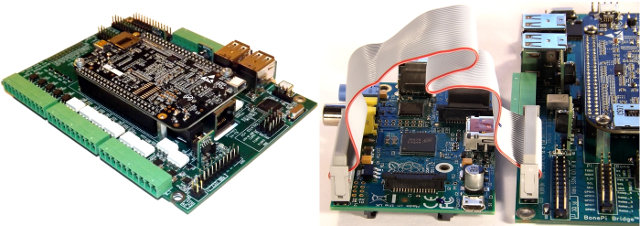 MotherBone PiOne Connection with the BeagleBone Black (Left) and the Raspberry Pi (Right)