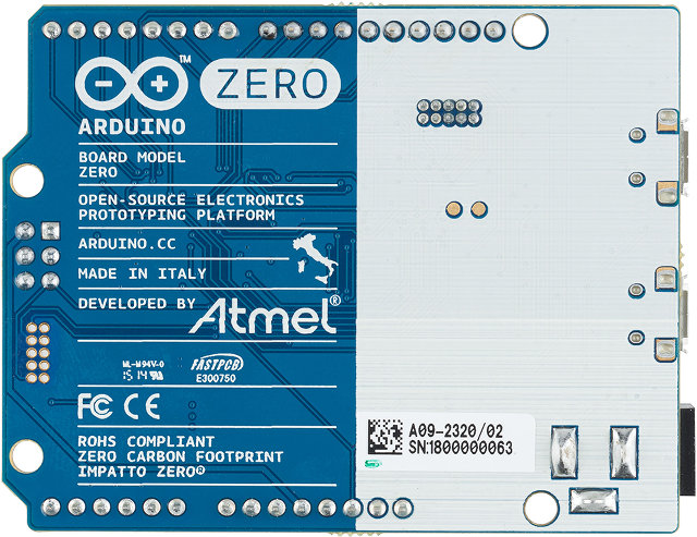 Bottom of Arduino Zero Board (Click to Enlarge)