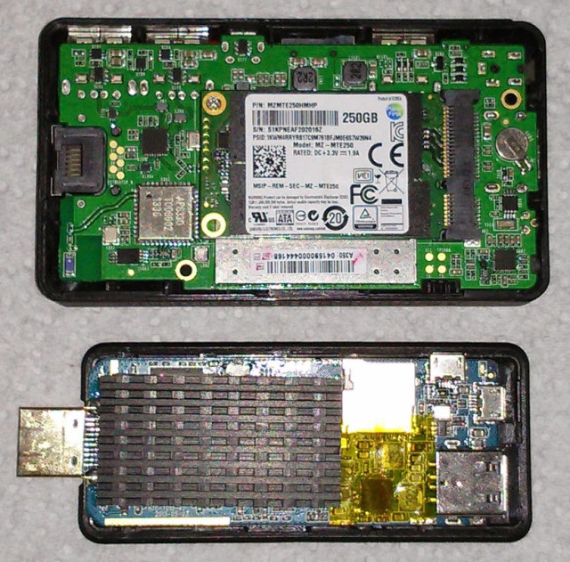 PQ Labs iStick A350-SSD fitted with a 250GB SDD (top) vs Rikomagic MK804 IV (bottom) - Click to Enlarge