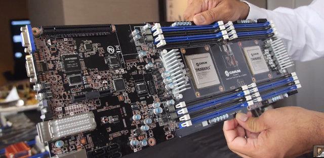 Cavium ThunderX Dual Socket Motherboard (Click to Enlarge)