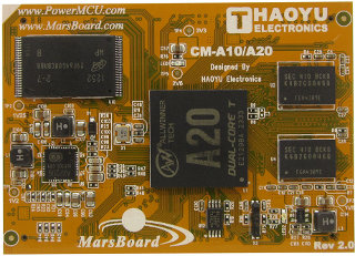 Haoyu CM-A20 CoM with AllWinner A20, RAM, Flash, and Ethernet (Click to Enlarge)