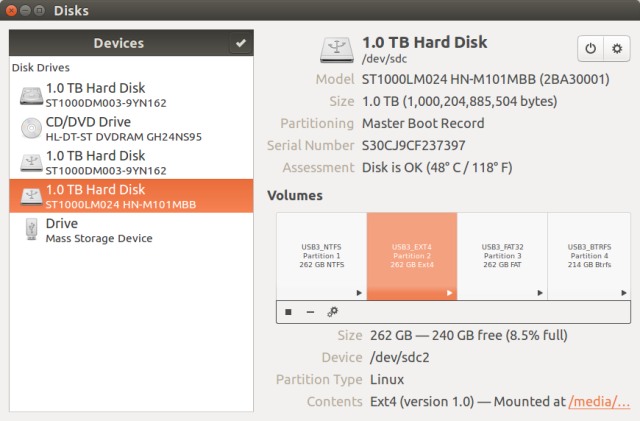 USB 3.0 Drive Partitions