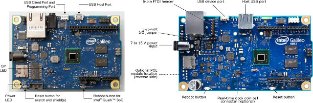 Intel Galileo vs Intel Galileo Gen 2 (Click to Enlarge)