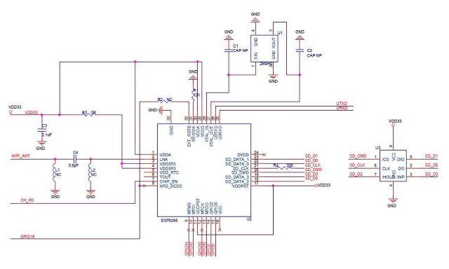Schematics with ESP8622 Wi-Fi SoC
